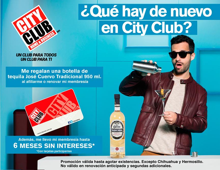 City Club: Afiliar o renovar membresia y gratis botella de Tequila Jose Cuervo Tradicional