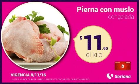 Soriana Híper y Súper (Recompensa Martes 8 Noviembre) Pierna con muslo de pollo congelada a $11.90 kg.