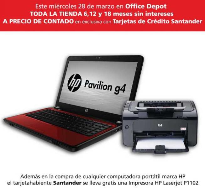 Office Depot: 6, 12 y 18 MSI a precio de contado con Santander