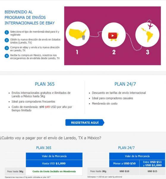 ebay: envíos ilimitados de compras de USA a México por 49 dólares anuales