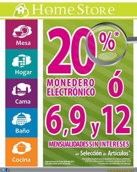 The Home Store: 20% en monedero electrónico o 6, 9 y 12 MSI en artículos seleccionados