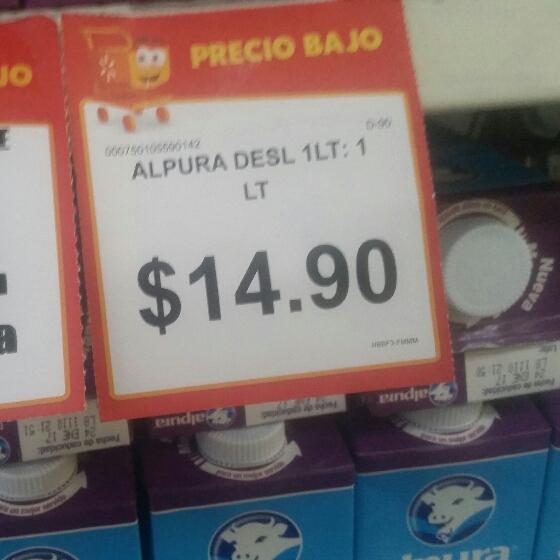 Walmart Juventud, Chihuahua: leche Alpura deslactosada 1L a $14.90