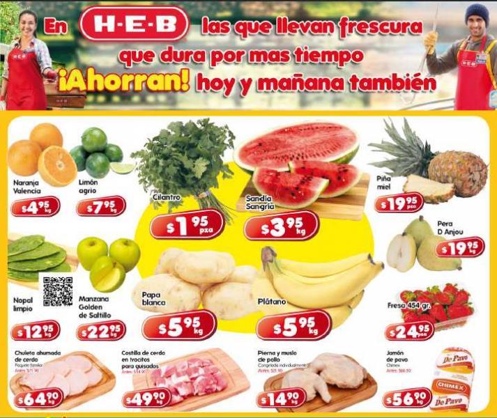 Frutas y verduras HEB: sandía $3.95 Kg, plátano $5.95 Kg y más