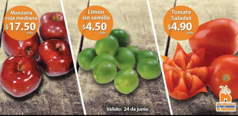 Ofertas de frutas y verduras en Chedraui 24 y 25 de junio