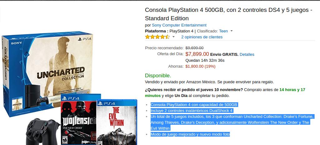 Amazon: Consola PlayStation 4 500GB, con 2 controles DS4 y 5 juegos - Standard Edition