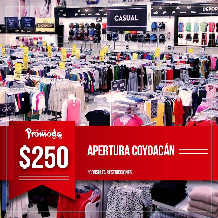 Promoda Outlet Coyoacán: por inauguración, cupón de $250 sin mínimo de compra para los primeros 100