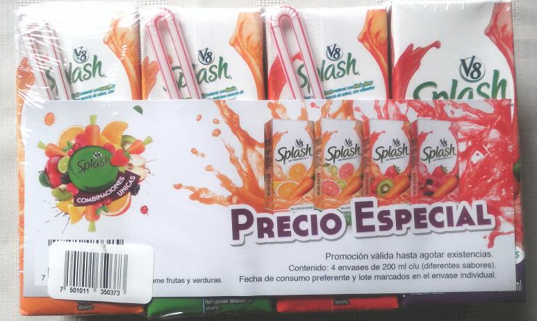 Walmart: 4 jugos splash de 200ml c/u y de diferentes sabores.