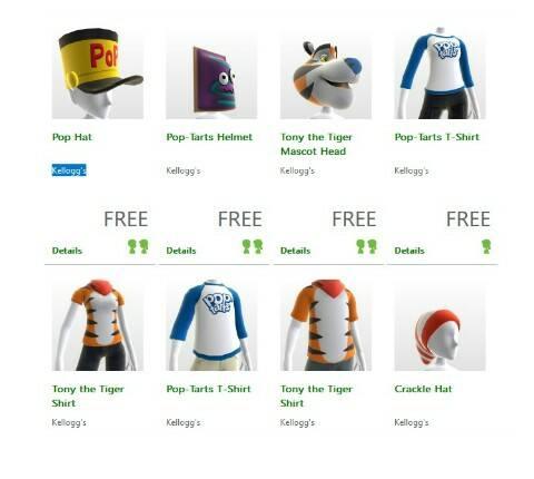 Xbox: accesorios para avatar relacionados a Pop Tarts gratis