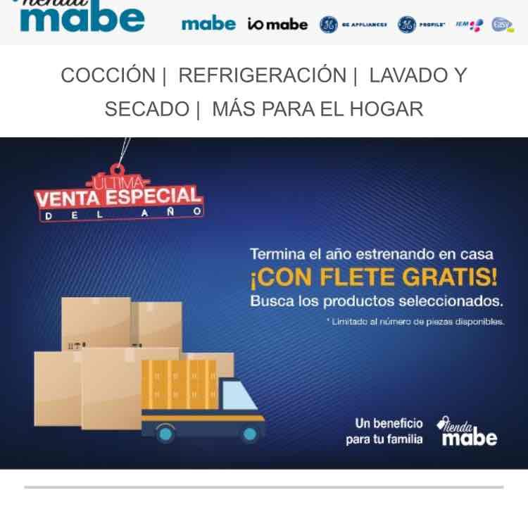 Tienda Mabe: Flete gratis en artículos seleccionados