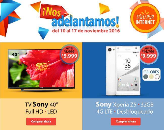 "Walmart por Internet: Adelantos Buen Fin 2016: TV Sony 40"" Full HD Led $5,999, Sony Xperia Z5 32GB 4G LTE Desbloqueado $9,999 y más"
