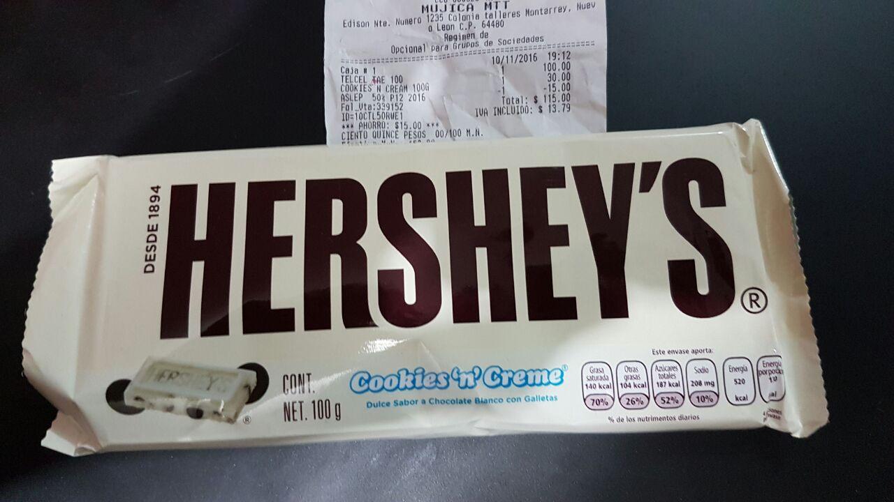 Oxxo: Hershey's cookies&cream 100grs