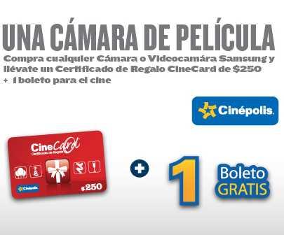 Best Buy: tarjeta de $250 y boleto gratis para Cinépolis comprando cámara Samsung