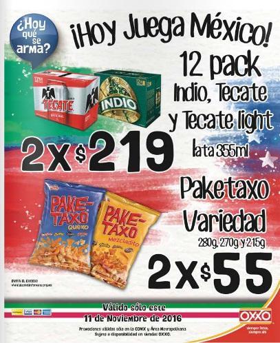 Oxxo: 12 pack Indio, Tecate y Tecate Light lata 355 ml. 2 x $219; Paketaxo Variedad 280g, 270g, y 215g 2 x $55 sólo hoy