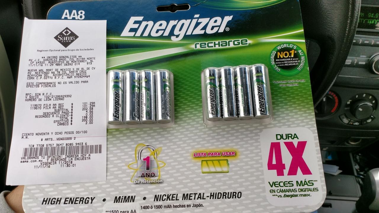 Sam's Club Gonzalitos, Monterrey: 8 baterías recargables energizer a $99
