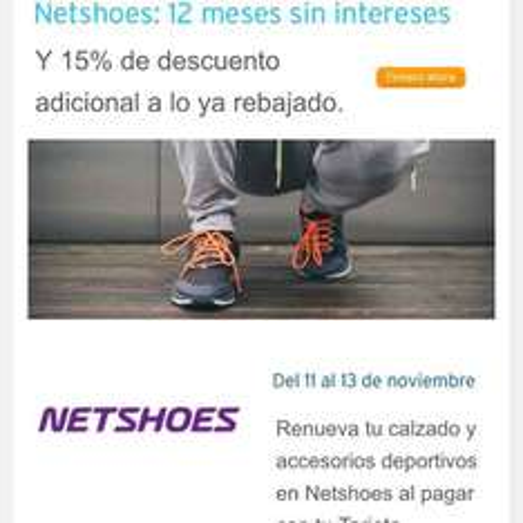 Netshoes: 12 msi y cupón de 15% de descuento pagando con Citibanamex