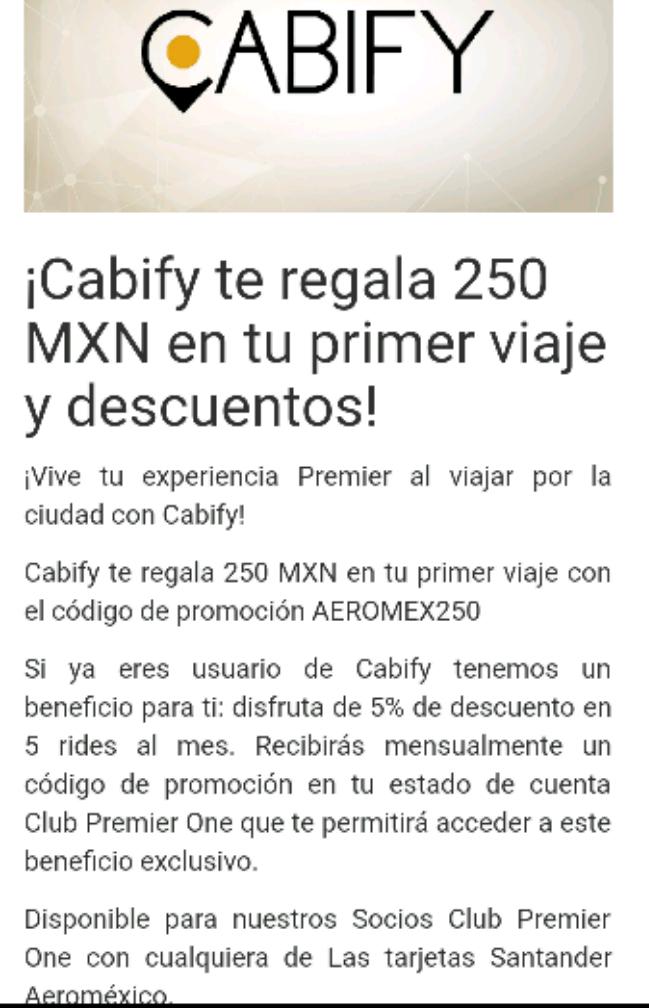 Cabify: cupón de $250 MXN para usuarios nuevos + 5% usuarios existentes con Club Premier One