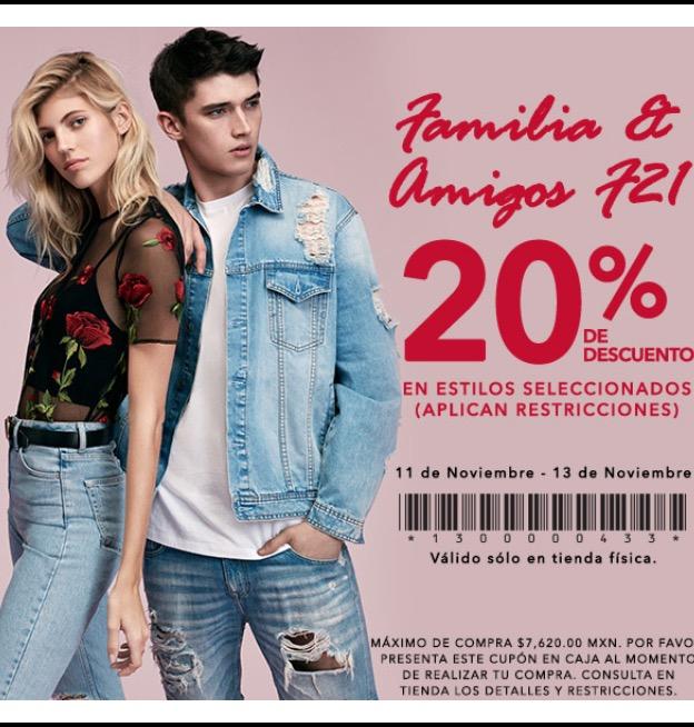Forever21: 20% de descuento en el total de compra