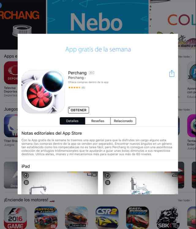 App Store: app gratis de la semana Perchang
