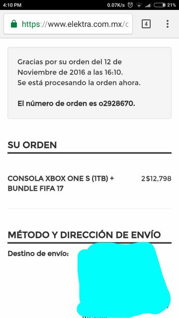 Elektra: consola Xbox One S 1Tb bundle FIFA 17 a $7,999