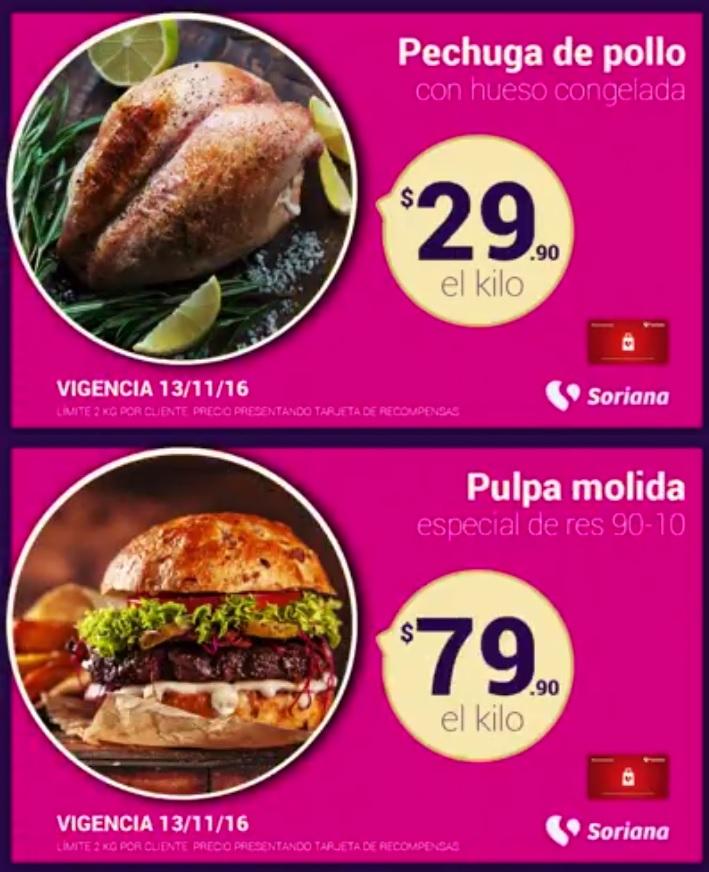 Soriana Híper y Súper: Recompensas Domingo 13 Noviembre: Pulpa molida especial de res 90-10 $79.90 kg. y Pechuga de pollo con hueso congelada $29.90 kg.