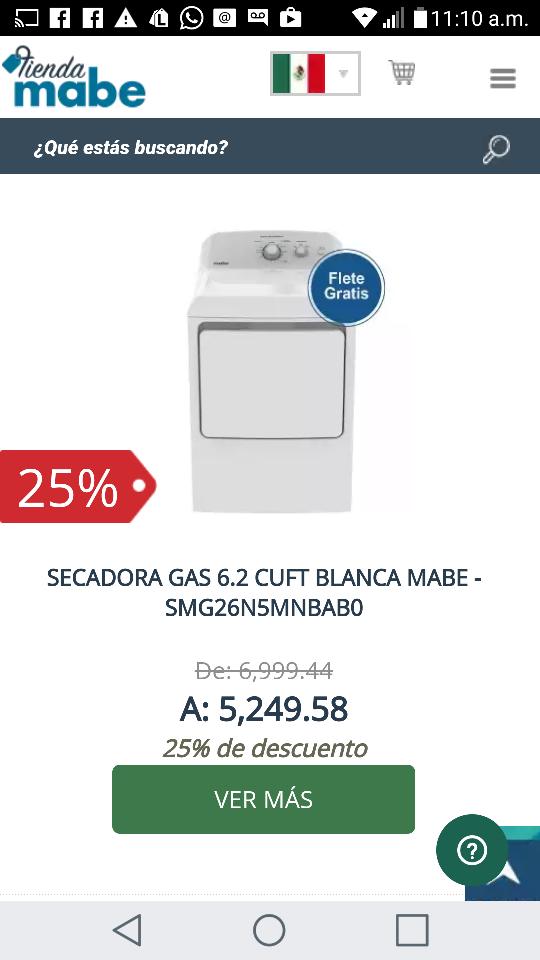 Tienda Mabe: 25% de descuento en Secadora Gas 6.2 Cuft Blanca Mabe+ cupón de $100 + Envío gratis