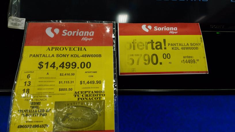 "Soriana Cancún: pantalla Sony 48"" KDL48W600B a $5,790"