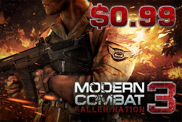 Modern Combat 3 y más juegos de Gameloft para iPhone y iPad a $12
