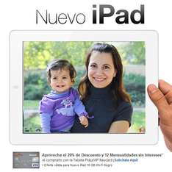 Decompras.com: Nueva iPad con 20% de descuento y 12 meses sin intereses con tarjeta Plaza VIP Itaucard