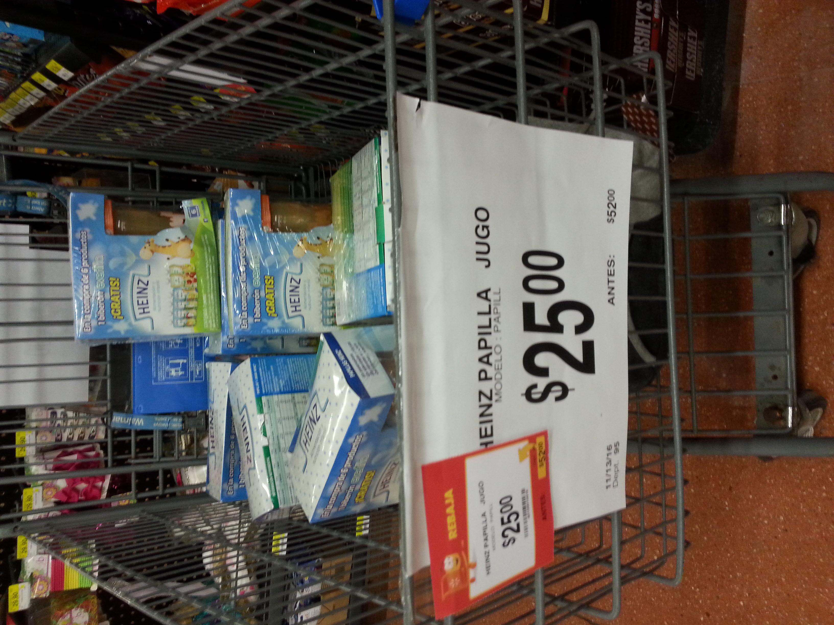 Walmart México 68 Culiacán: set de 6 papillas Heinz con biberon regalado de $52 a $25