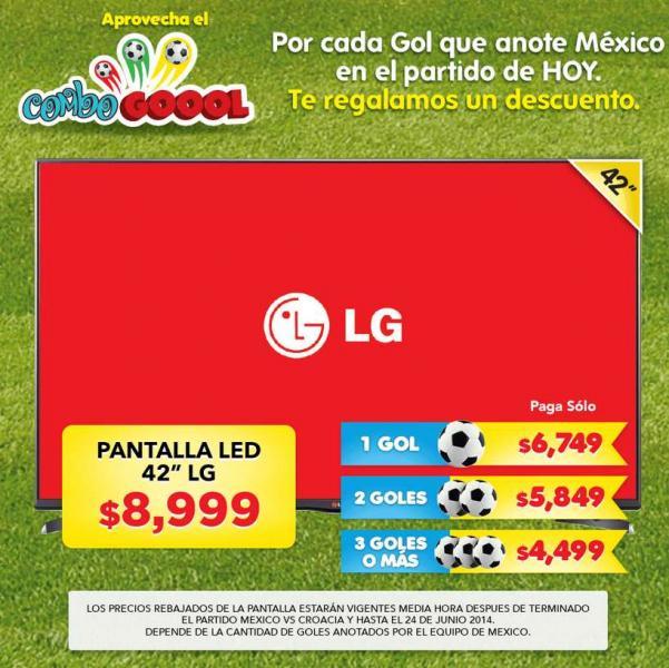"""HEB: descuento en pantalla LED LG de 42"""" dependiendo los goles de México (desde $4,499)"""