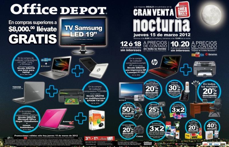 """Venta noctura Office Depot: pantalla LED 19"""" gratis con compra mínima, 3x2 en tarjetas iTunes y + (actualizado)"""
