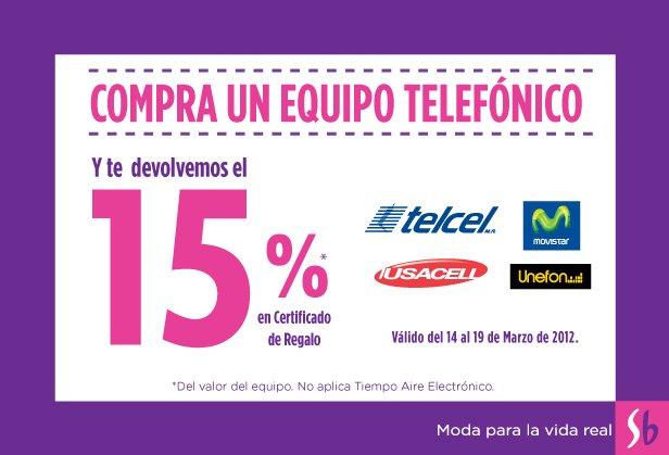 Suburbia: 15% en certificado de regalo en la compra de cualquier equipo celular
