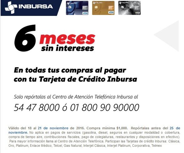 Promociones Tarjetas INBURSA: Todas tus compras con tu TDC a 6 meses sin intereses durante el Buen Fin