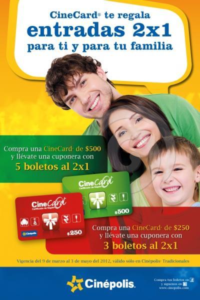 Cinépolis: entradas de 2x1 comprando gift card
