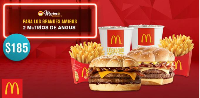 McDonald's: 2 Mc Tríos Angus por $185