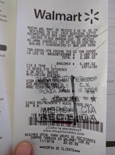 Walmart Plaza Aragon: Pantalla LG 43LF5100 UF a $5,089.02