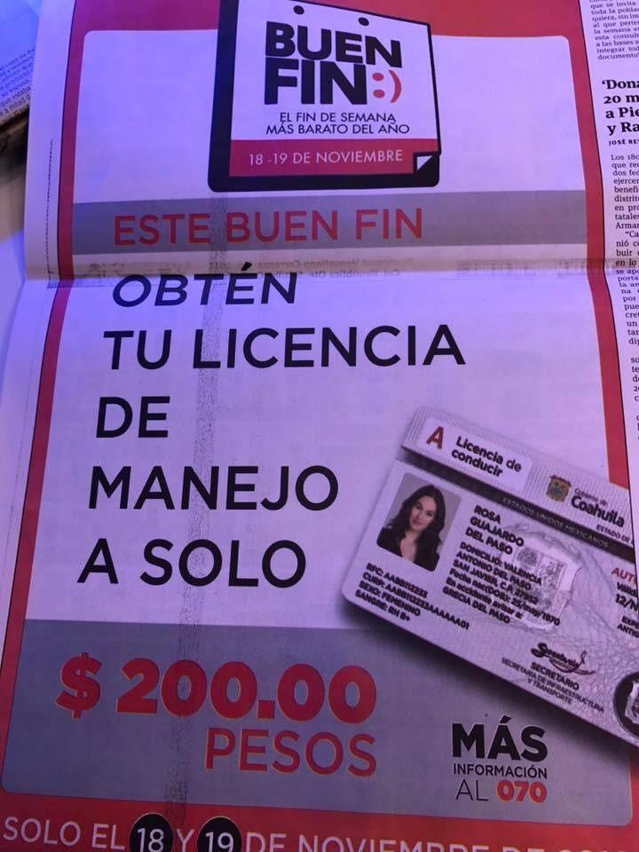Licencias de conducir en Coahuila a $200