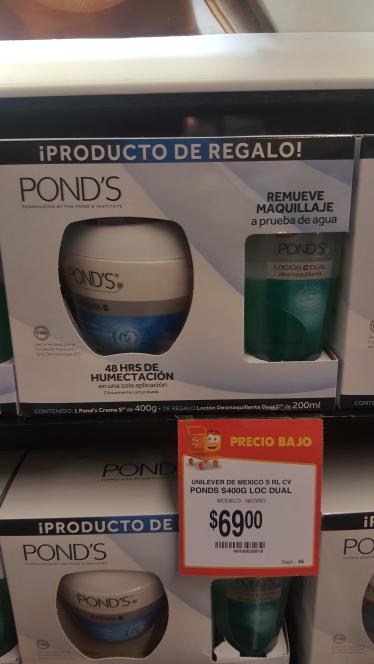 Walmart Patió Santa Fé: paquete de crema Pond's 400 G + Desmaquillante 200ml $69.00