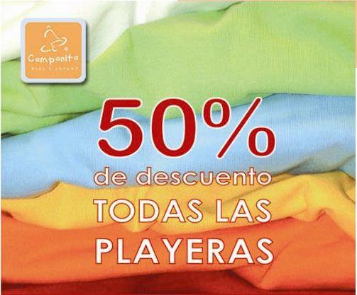 Campanita: 50% de descuento en playeras y obsequios con ciertas compras