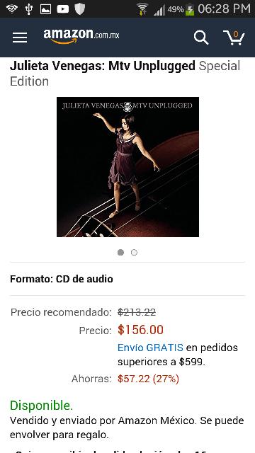 Amazon MX: Julieta Venegas MTV Unplugged: CD y DVD (+ DELL de seguro no cumplirá otra vez)
