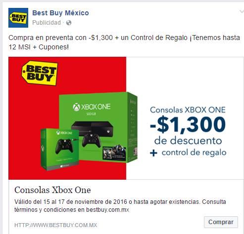 Best Buy México: Compra en preventa Xbox One con  -$1,300 + un Control de Regalo