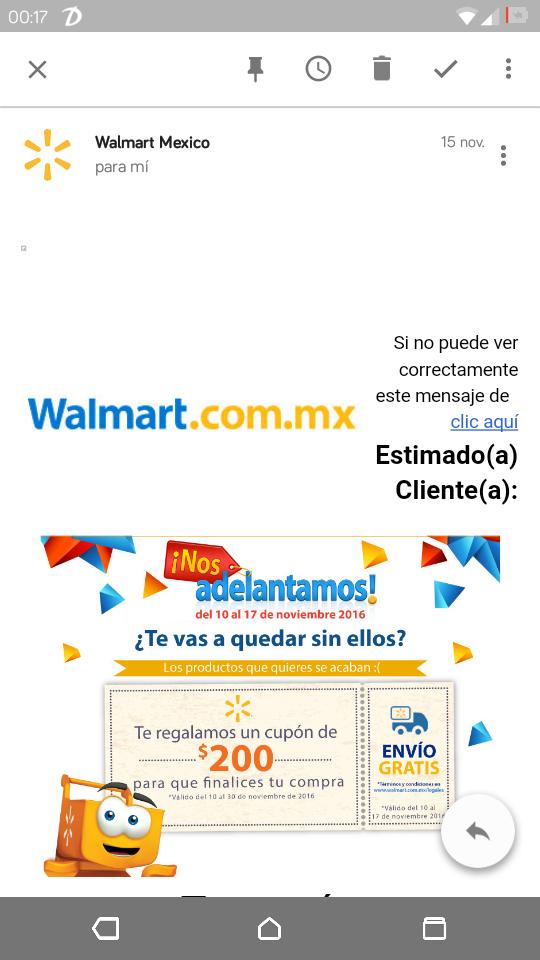 Walmart: Cupon de $200 para finalizar compra online