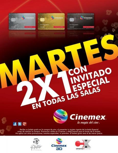 Cinemex: 2x1 los martes en todas las salas con tarjeta de invitado especial