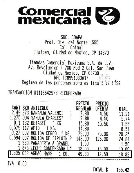 Comercial Mexicana Coapa Vaqueritos: Aguacate Hass $12.50 kg.
