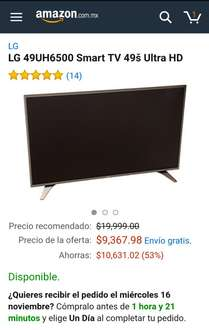 "Amazon: LG 49UH6500 Smart TV 49"" Ultra HD"