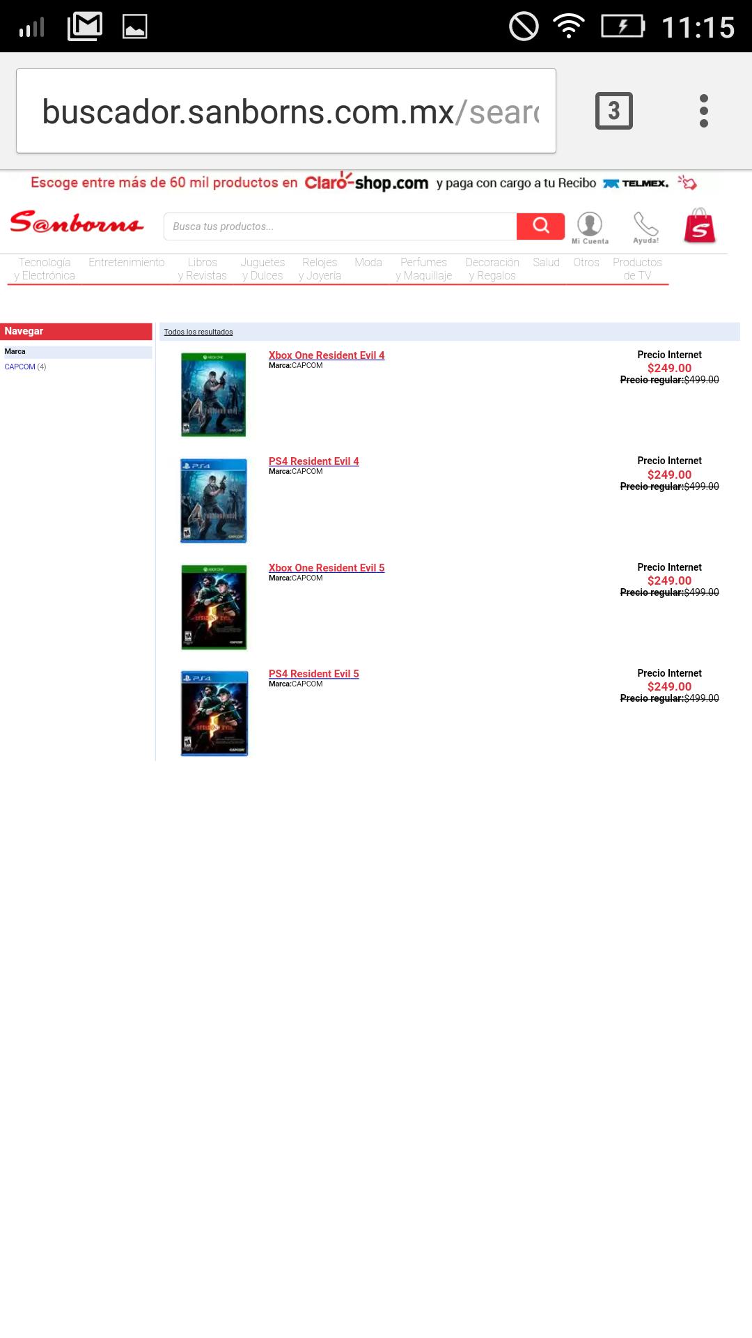 Tienda en línea Sanborns Resident Evil 4-5 en $250