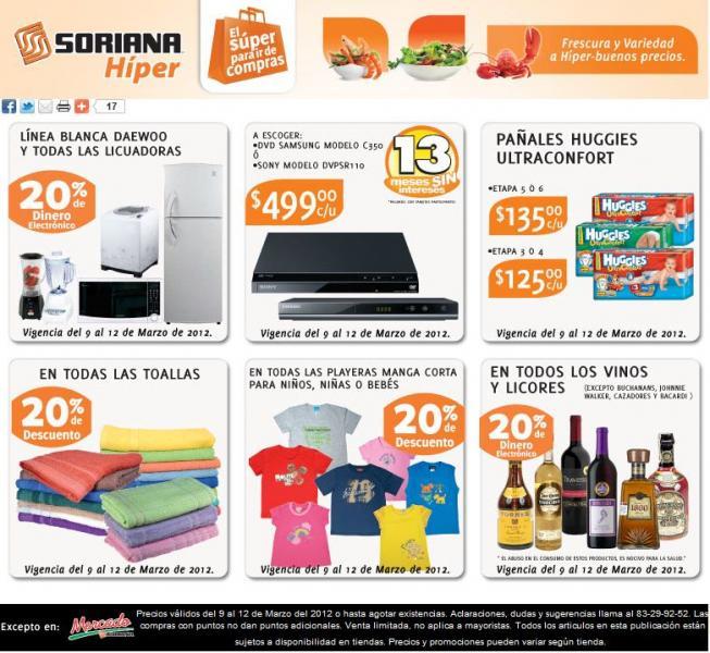 Soriana: 20% en monedero en licuadoras, vinos y licores, 20% de descuento en toallas y más