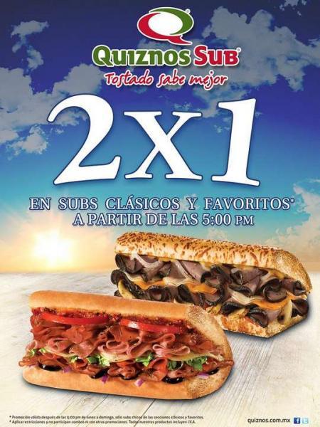 Quiznos: 2x1 en subs clásicos y favoritos después de las 5