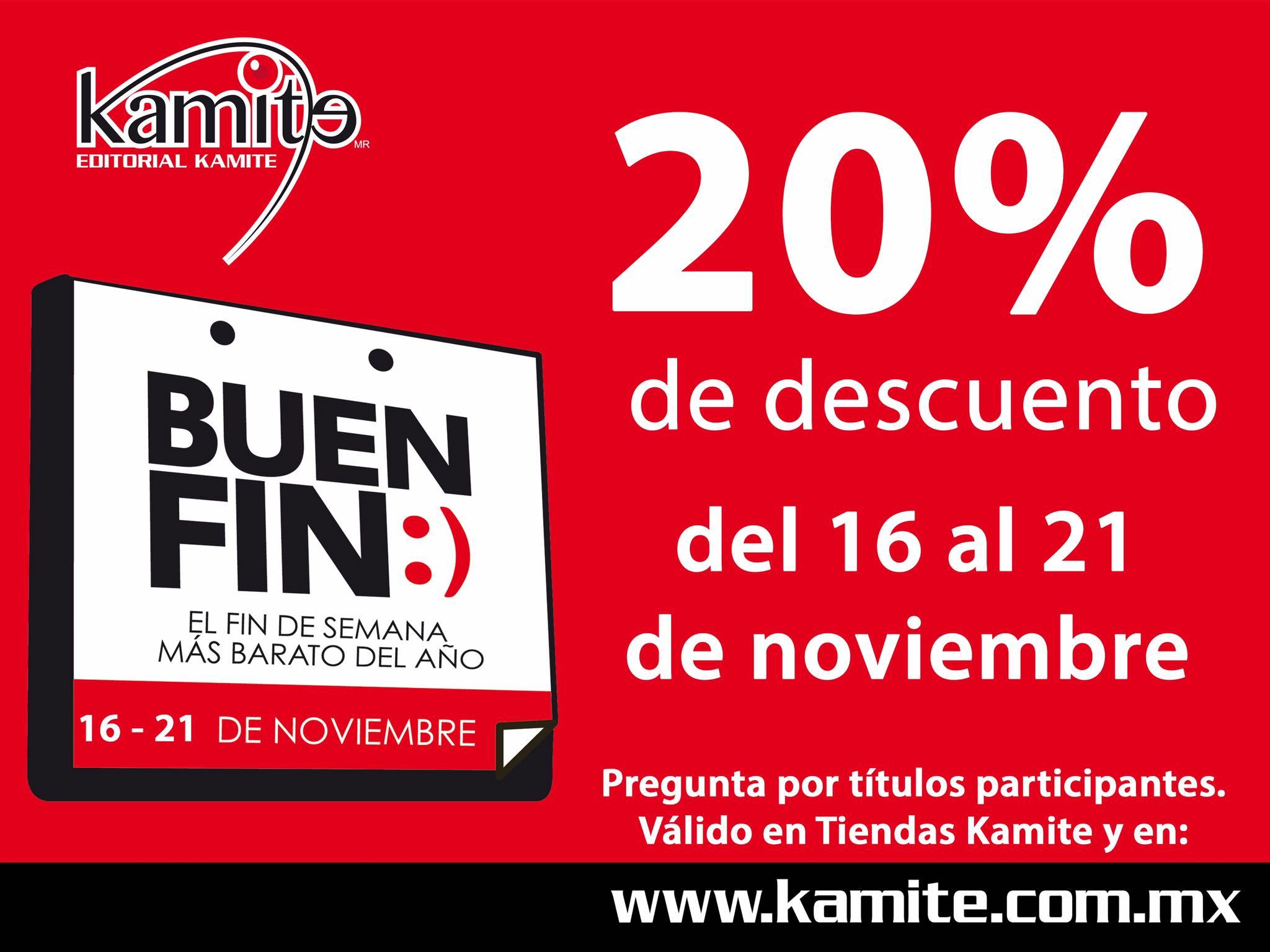 Ofertas del Buen Fin 2016 Editorial Kamite: 20% de descuento en títulos participantes