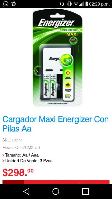 Office Max: Cargador Maxi Energizer Con Pilas AA